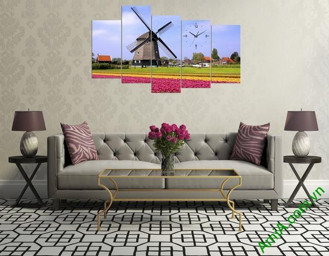 Tranh phong cảnh cánh đống hò tulip và cối xay gió