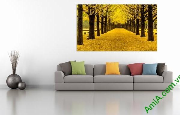 Hình ảnh mẫu tranh phong cảnh khổ lớn hàng cây lá vàng