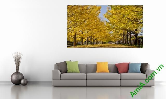 Hình ảnh mẫu tranh phong cảnh mùa thu đẹp treo trang trí phòng khách