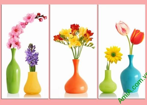 Tranh bình hoa ghép bộ đẹp AmiA