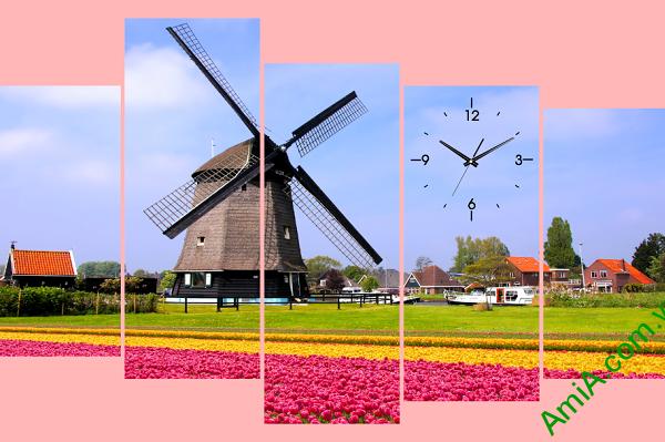 Tranh ghép bộ hiện đại cánh đồng hoa tulip