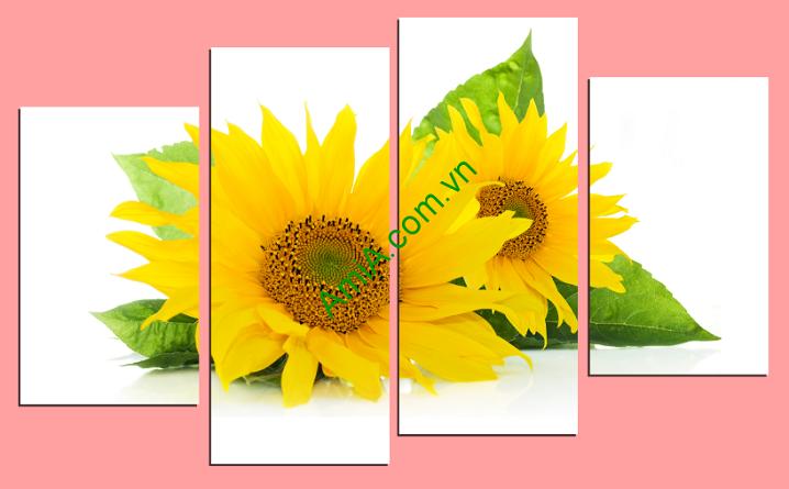 Hình ảnh mẫu tranh hoa hướng dương ghép bộ