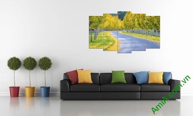 Hình ảnh tranh phong cảnh mùa thu hàng cây lá đổ vàng
