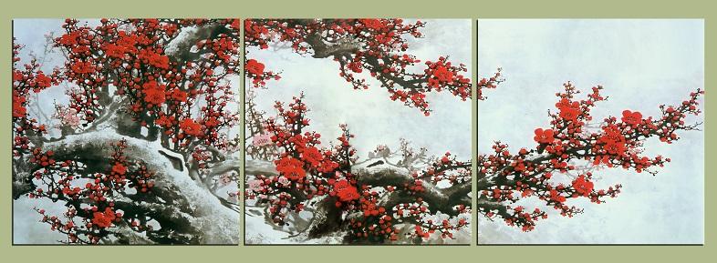 Tranh hoa đào đẹp kiểu tranh ghép bộ