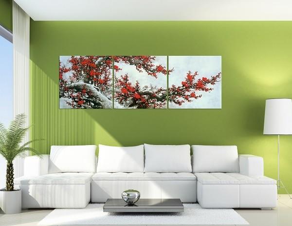 Tranh treo phòng khách đẹp mẫu tranh hoa đào
