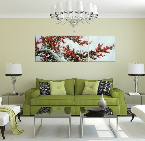 Tranh hoa đào đẹp khổ lớn treo phòng khách rộng