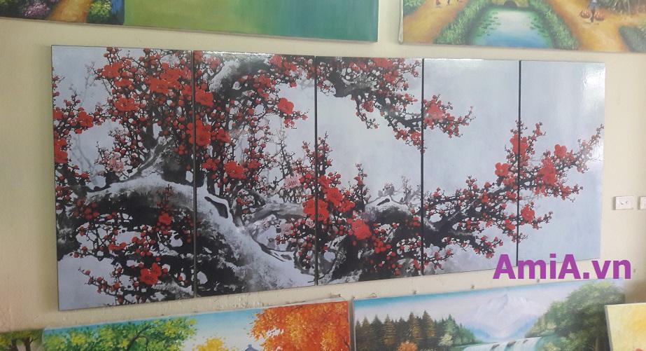 Hình ảnh mẫu tranh hoa đào