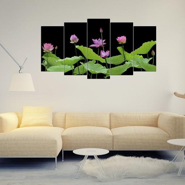 Mẫu tranh hoa sen đẹp ghép bộ treo phòng khách