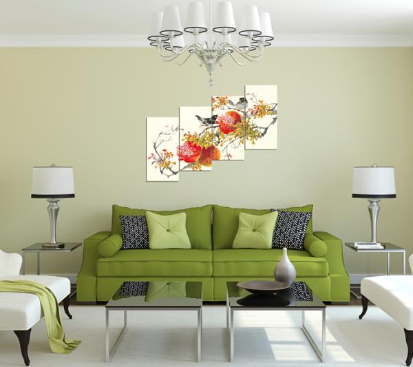 Tranh chùm lựu và đôi chim treo phòng khách đẹp