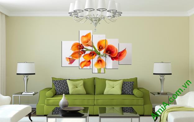 Trang trí phòng khách đẹp với mẫu tranh hoa Zum