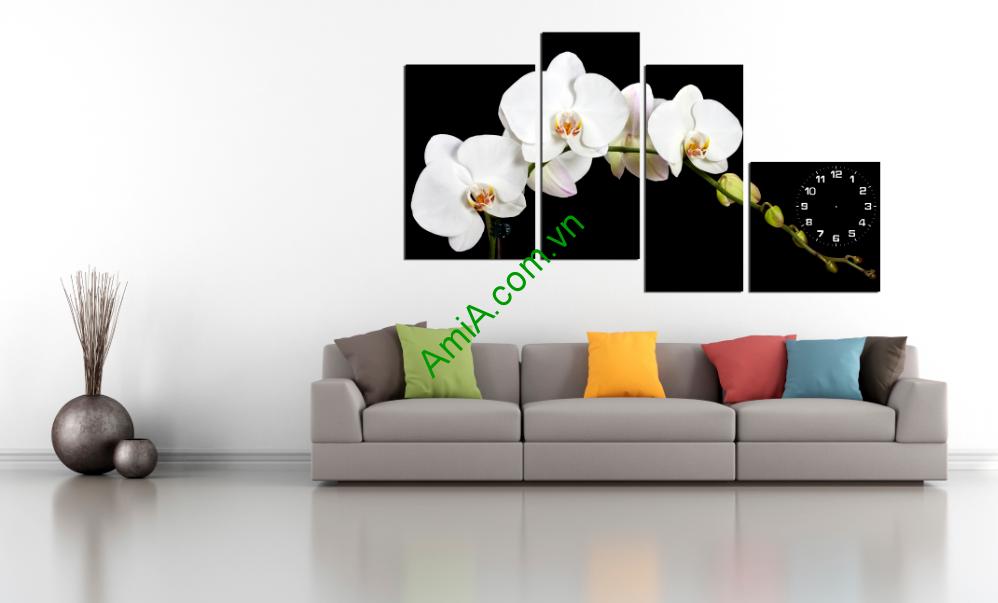 Tranh hoa lan trắng tinh khiết sang trọng
