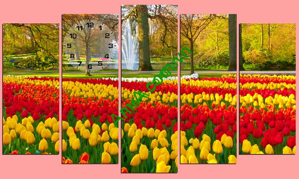 Tranh phong cảnh ghép bộ hiện đại, rực rỡ sắc hoa tulip