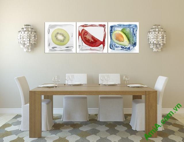 Tranh hoa quả tươi ngon treo phòng ăn