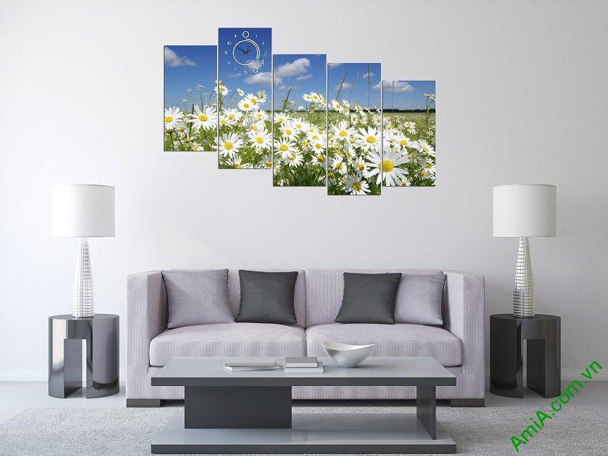 Mẫu tranh hoa cúc họa mi trắng