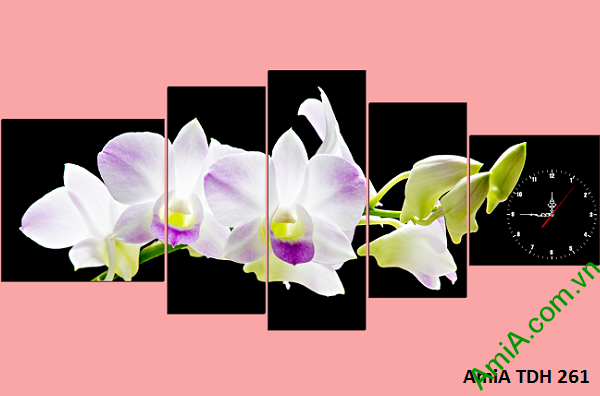 Mẫu tranh hoa phong lan đẹp treo phòng khách