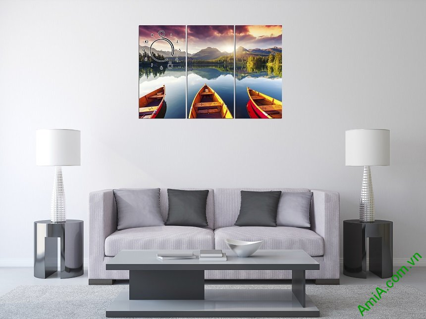 Hình ảnh phòng khách đẹp khi treo tranh treo tường