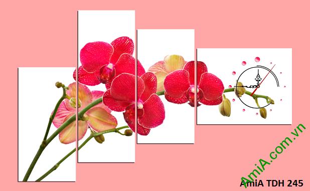 Mẫu tranh treo tường hoa phong lan đẹp kiểu ghép bộ