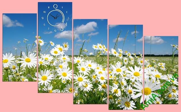 Tranh cánh đồng hoa cúc họa mi ghép bộ
