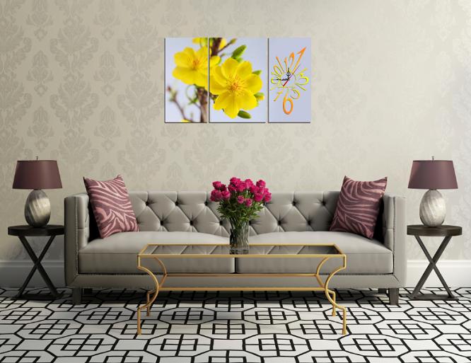 Hình ảnh tranh tết hoa mai vàng