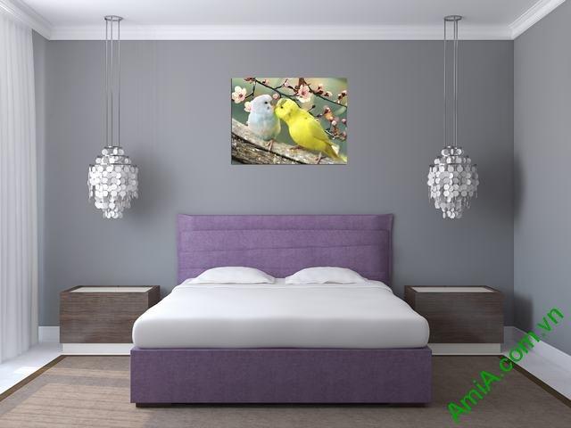 Tranh đôi chim treo phòng ngủ vợ chồng