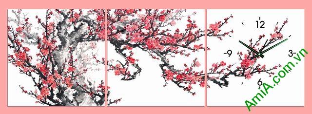 Tranh đồng hồ hoa đào đẹp