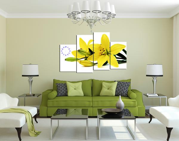 Tranh đồng hồ hoa ly vàng treo phòng khách