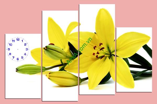 Tranh đồng hồ hoa ly vàng đẹp