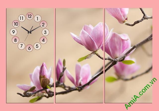 Tranh đồng hồ hoa mộc lan