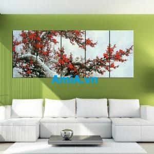 Hình ảnh mẫu tranh hoa đào cực đẹp