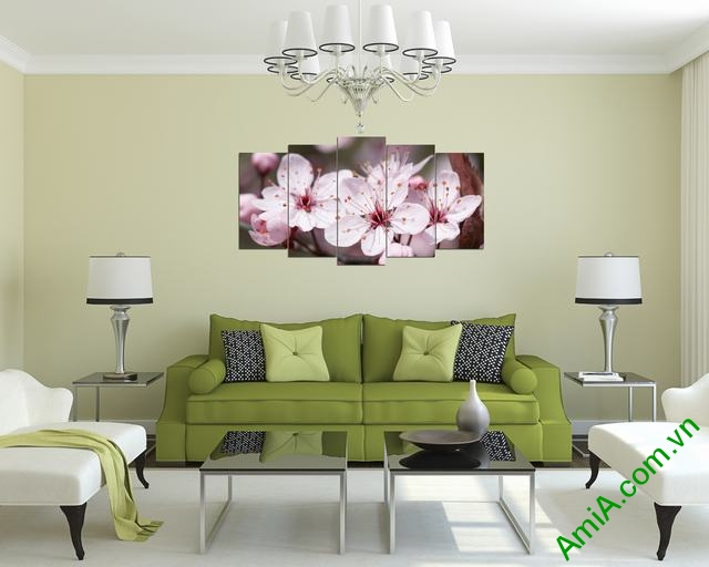 Tranh hoa đào đẹp treo phòng khách