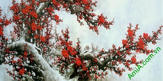 Tranh hoa đào khổ lớn 1 tấm