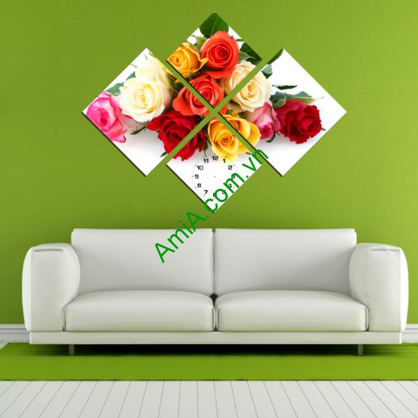Tranh hoa hồng đẹp treo phòng khách