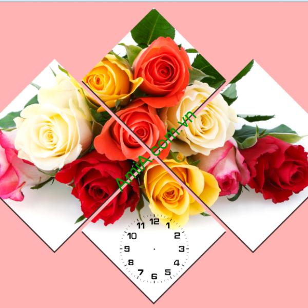 Tranh hoa hồng đẹp kiểu ghép bộ