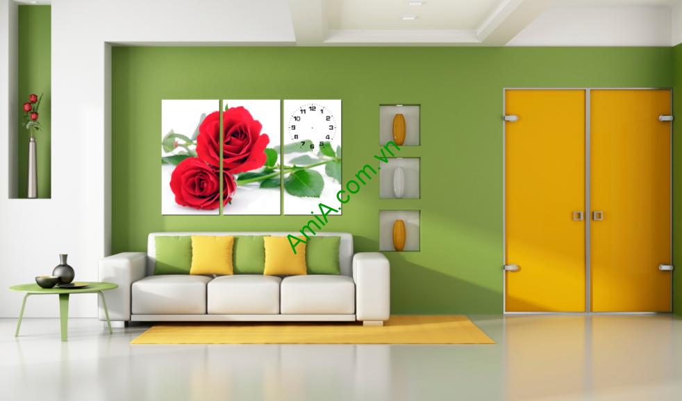 Tranh hoa hồng treo phòng khách