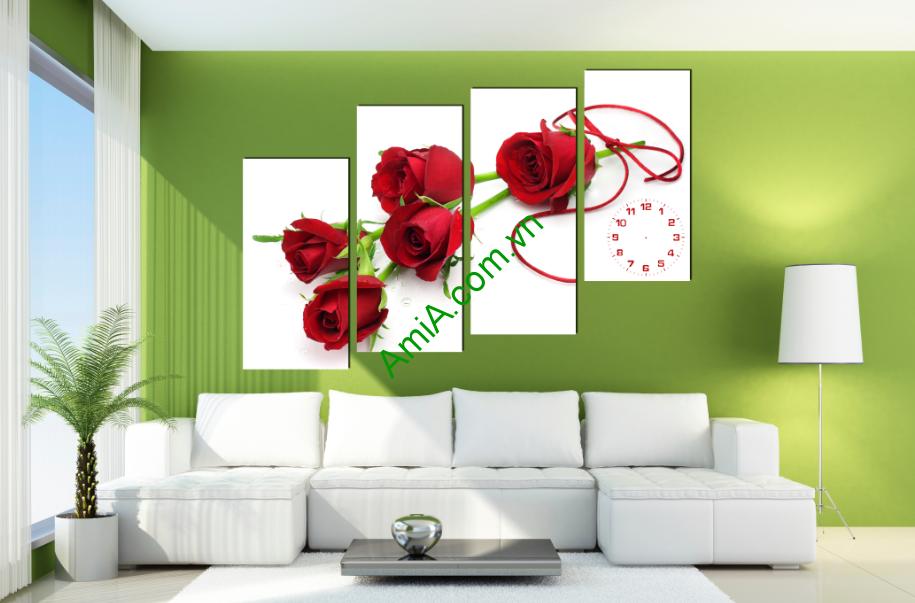 Tranh hoa hồng treo trang trí phòng khách