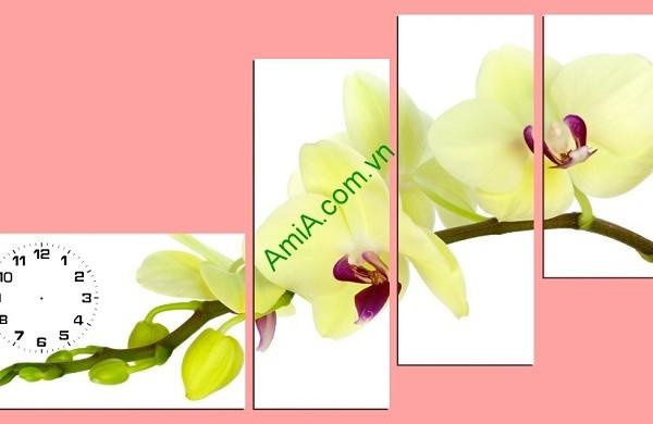 Tranh hoa lan vàng ghép bộ hiện đại
