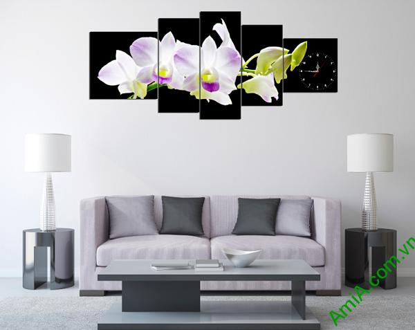 Tranh hoa phong lan trắng đẹp sang trọng treo phòng khách