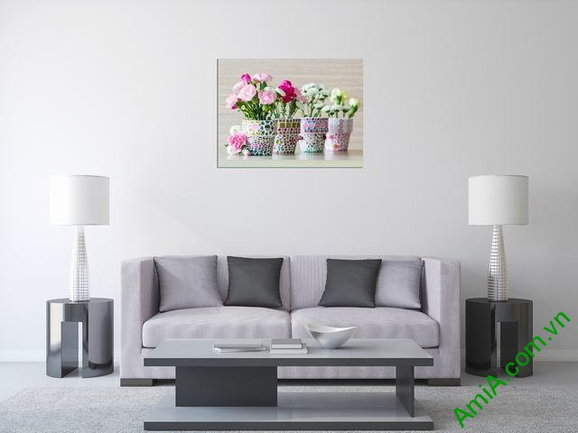 Tranh lọ hoa đẹp treo phòng khách nhỏ