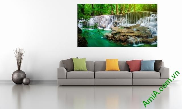 tranh phong cảnh thác nước treo phòng làm việc