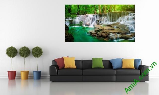 Tranh phong cảnh thác nước hợp treo phòng khách