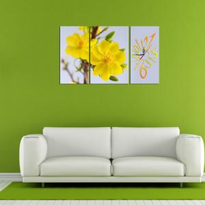 Tranh tết hoa mai vàng kiểu ghép bộ 3 tấm