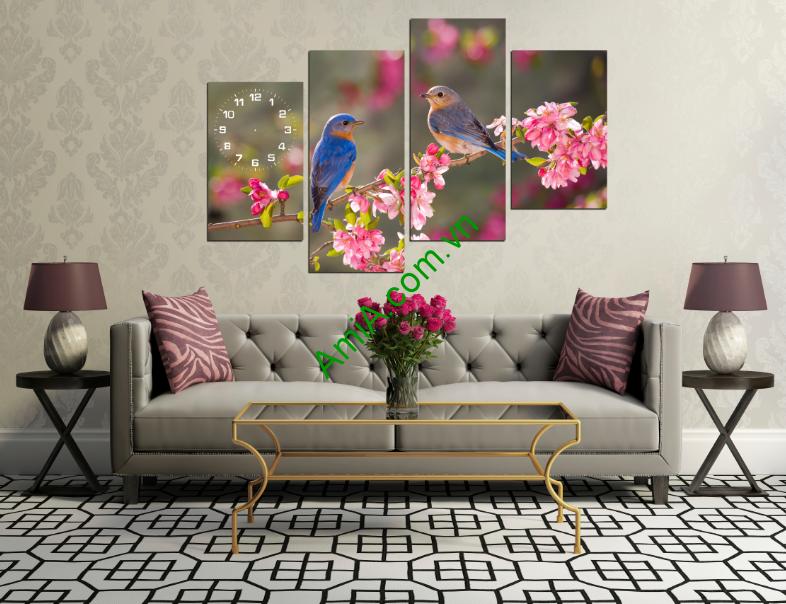 Tranh đôi chim trên cành hoa