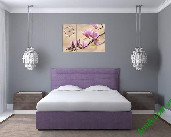 Tranh đồng hồ hoa mộc lan là một trong những mẫu tranh đẹp