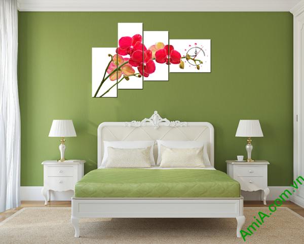 tranh hoa phong lan treo tường phòng ngủ