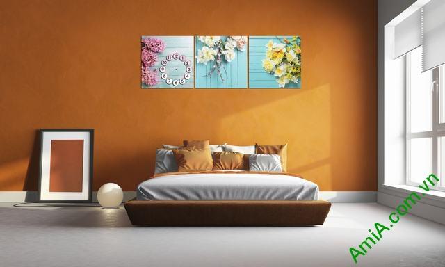 Tranh hoa đẹp ghép bộ treo phòng ngủ
