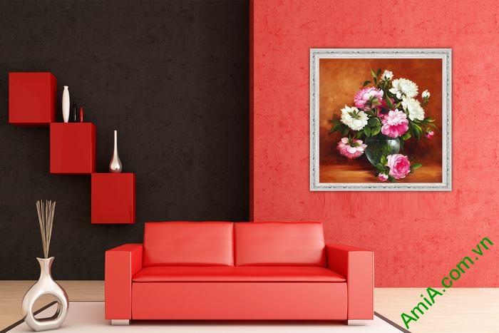 Tranh hoa mẫu đơn đẹp rất hợp treo phòng khách