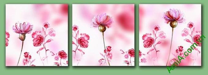 mau tranh dep trang tri tuong hoa sac hong tinh yeu