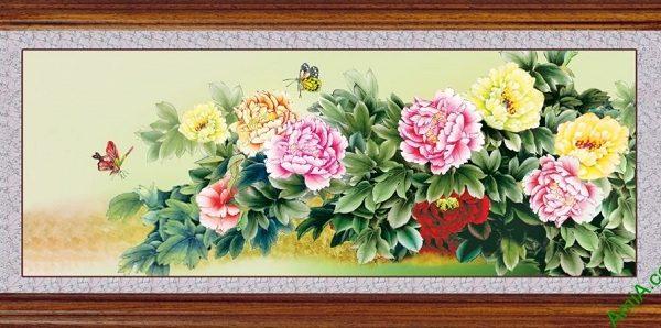 mau tranh hoa mau don 9 bong phong thuy