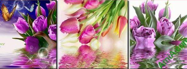 mau tranh treo phong ngu dep hoa tulip tim