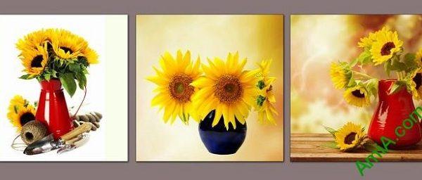 tranh binh hoa huong duong dep treo phong khach